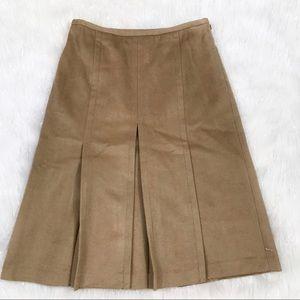 Ann Taylor Tan Pleated Wool Skirt NWT Size 4